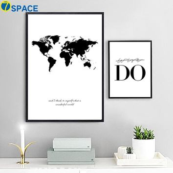 World Map Canvas Nordic Posters And Prints Wall Art Canvas Painting Black And White Print Poster Decorative Pictures Living Room