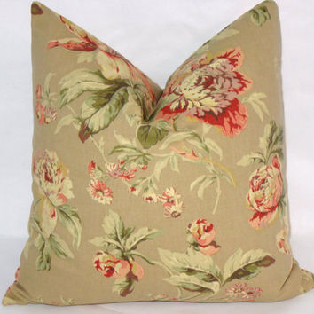 """Tan and Orange Floral Throw Pillow Waverly Fleuretta in Chutney Coral Vintage Look 17"""" Cotton Square Ready Ship Cover and Insert"""