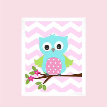 Aqua Pink Lime Owl on Baby Pink Chevron, Chevron Baby Nursery Art CUSTOMIZE YOUR COLORS 8x10 Prints Nursery Decor Print Art Baby Room Decor