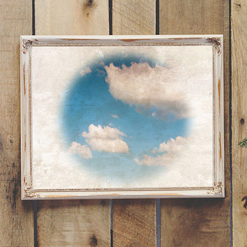 Clouds Vintage Wall Art Printable Coastal Decor Beach Decor Instant Download 8x10 11x14 Baby Nursery Teen Room Dorm Room Printable