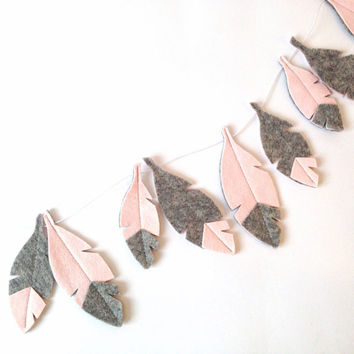 Baby girl nursery wall decor, Feather bunting, Pink and Grey Feather Garland, Girl Nursery Decor, Bohemian room decor,