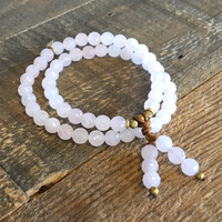 Love, Rose Quartz 54 Bead Mala Wrap Bracelet