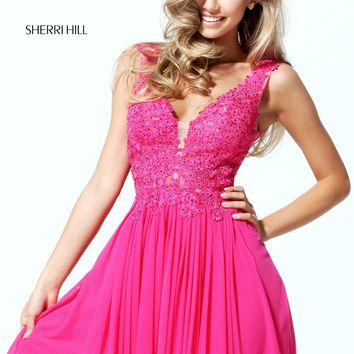 Sherri Hill 50756 V-Neck Lace Short Dress | RissyRoos.com