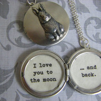 Nutbrown Hare Rabbit Locket Guess How Much I love you? To the moon and Back silver locket gift for her storybook locket ready to ship USA