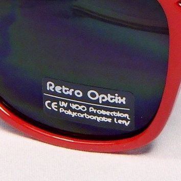Sunglasses Classic 80's Vintage Style Design (Red)