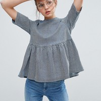 ASOS Denim Tie Back Top in Stripe at asos.com