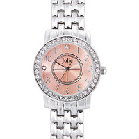 Jolie Ladies Silver-Tone Crystallized Watch
