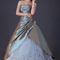 Gray Strapless Lace Embroidered  Ruched Ball Gown