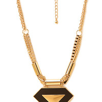 FOREVER 21 Cool Girl Faux Leather Pendant Necklace Black/Gold One