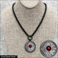 Wolf and Raven Coin Pendant On Luxurious Black Wheat Design Stainless Steel Necklace