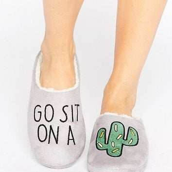 Daisy Street Sit On A Cactus Slipper at asos.com