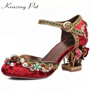 Krazing Pot 2017 New fashion brand shoes luxury big size flower pearl high heel women pumps party wedding crystal causal shoes