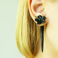 black flower fake gauge fake plug two part by JEWELRYandPLEASURE