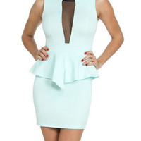 Scuba Mesh Peplum Dress | Shop Dresses at Arden B