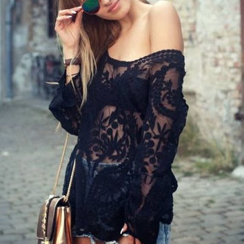 Black Floral Loose Crochet Long Sleeve Top