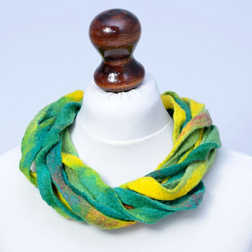 Green, yellow & turquoise multistrand necklace made of twisted felt ribbons - twist, multi strand, fiber, wool, ribbon jewelry [N108]