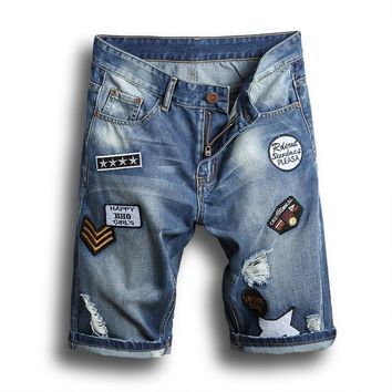 Denim Men Korean Slim Ripped Holes Pants Shorts [10699375555]