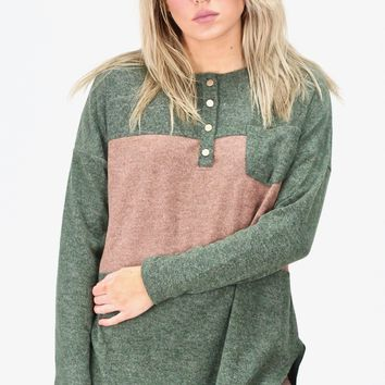 Stripe Block Snap Button Pullover Sweater {Hunter Green}