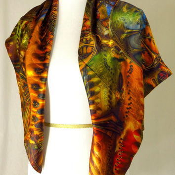 Gold and Multicolored Silk Satin Scarf, 3D Fractal design, Abstract Scarf, Unusual scarf