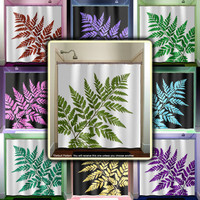 Tropical Green Fern Leaf Shower Curtain bathroom decor fabric kids bath window curtains panels valance bathmat