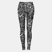Black & White Floral Profusion Leggings, Live Heroes