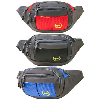 Men Male Functional Fanny Bag  Waterproof Nylon Waist Bag Money Phone Belt Bag Fanny Pack Waist Belt Zip Pouch 3 Colors