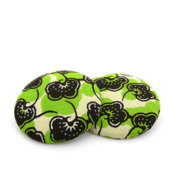 Green Fans African Button Earrings
