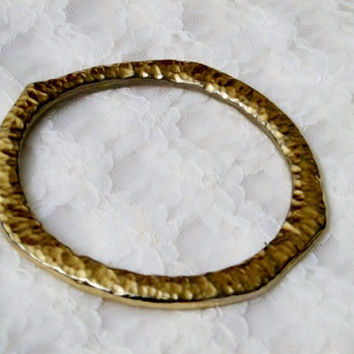 Napier Gold Bangle Bracelet, Unusual Shape and Texture, Hallmarked, Gold Tone, Rare Find, Chunky Bracelet, Gold Plate, Non Adjustable