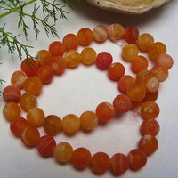 20 Orange Dragon Vein Agate Gemstone Beads 8mm