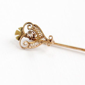 Antique 10k Rose Gold Diamond Stick Pin - Vintage Early 1900s Edwardian Art Deco Filigree Open Metal Fine Jewelry