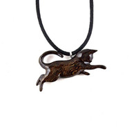 Cat Necklace, Cat Pendant, Cat Jewelry, Wood Cat Pendant, Wood Cat Necklace, Wood Jewelry, Cat Totem Jewelry, Hand Carved Animal Pendant