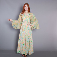 70s Pastel FLORAL DRESS / 1970s Cotton Empire Waist Angel Sleeve Maxi, xs-s