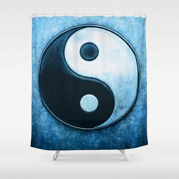 Yin Yang - Scratchy Blue Shower Curtain by Dirk Czarnota