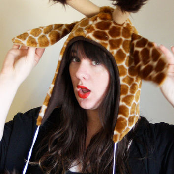 Unique Safari Giraffe HOOD - Limited Edition - Cosplay - Halloween - Burning Man - Unique Gift - Furry - Safari - Kawaii