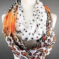 Scarves by Justbella's Leopard Orange Infinity Scarf