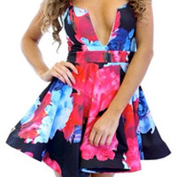 Floral Print Spaghetti Strap Ruffled Dress