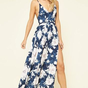 Navy Floral Maxi Dress with Split Front