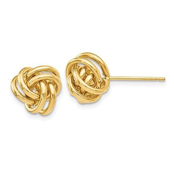 9mm Polished Love Knot Post Earrings in 14k Yellow Gold