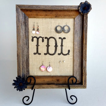 Barnwood Monogram Burlap Picture Frame Earring Holder