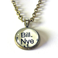Bill Nye the Science Guy Word Mini Pendant Brass Setting Library Card Necklace One of a Kind