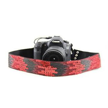 Sequin Ombre Red 2In Camera Strap - Capturing Couture - CASLR20-SQOR
