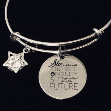 She is Clothed in Strength and Dignity Adjustable Charm Bracelet Expandable Silver Bangle Cubic Zirconium Star One Size Fits All Gift Inspirational