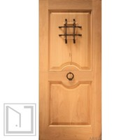 Rustic Exterior Single Door with Speakeasy and Door Knocker, Solid Wood