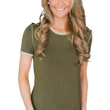 Olive Simple Trim Classic Preppy Tee