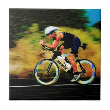 Colorful Bicycle Rider With Your Personal Name Small Square Tile