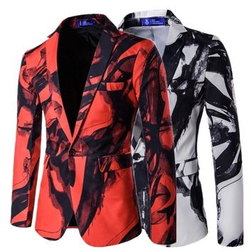 Autumn and Winter New Men's Fashion Suit Casual Coat Print Jacket Tops