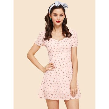 Puff Sleeve Ruched Sweetheart Ditsy Dress
