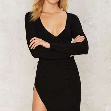 Just Sayin' High Ribbed Mini Dress