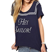 "Navy Blue ""HEY SAILOR!"" Print Asymmetrical Shirt"