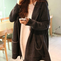 Deep Gray Long Sleeves Two Pockets Hooded Cardigan